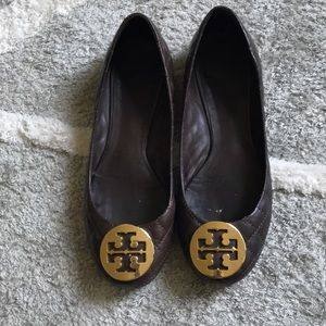 Tory Burch brown quilted leather ballet flats